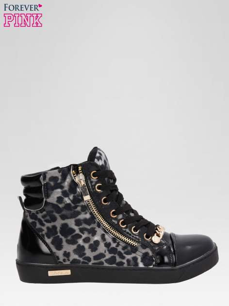 Czarne sneakersy damskie z motywem panterki