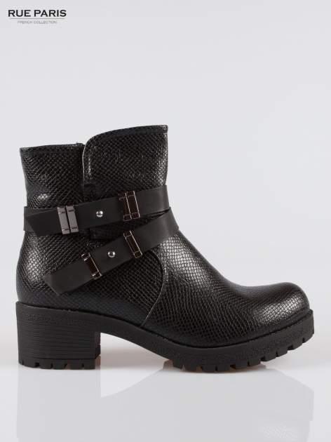 Czarne tłoczone botki biker boots z klamrami