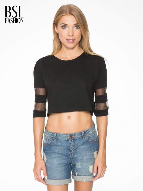Czarny cropped t-shirt z transparentnymi rękawami