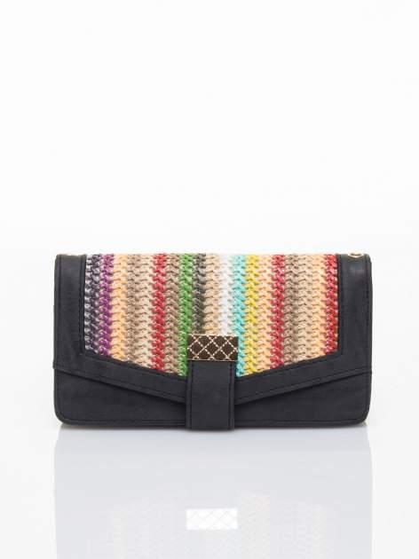 Czarny portfel z plecionką