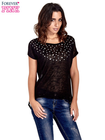 Czarny t-shirt z kryształkami
