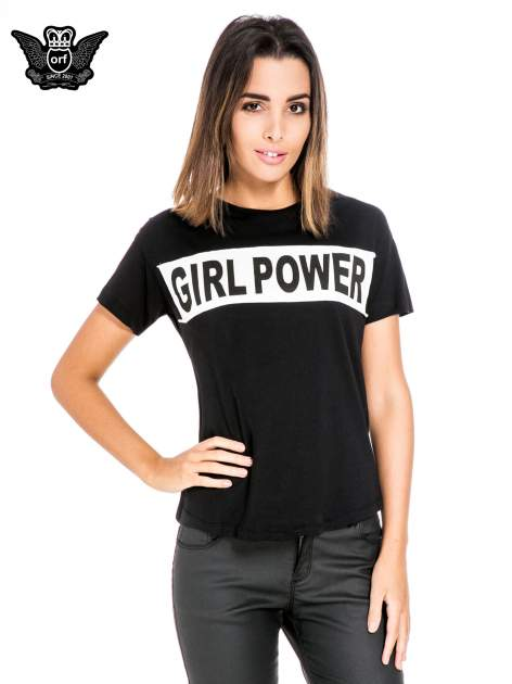 Czarny t-shirt z napisem GIRL POWER