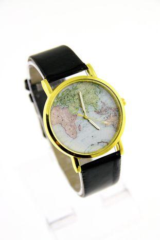 Czarny zegarek damski na skórzanym pasku