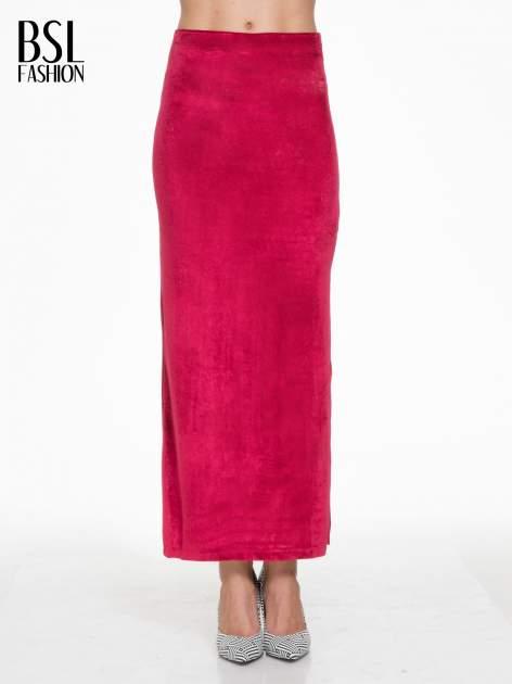 Czerwona zamszowa spódnica maxi z rozporkiem