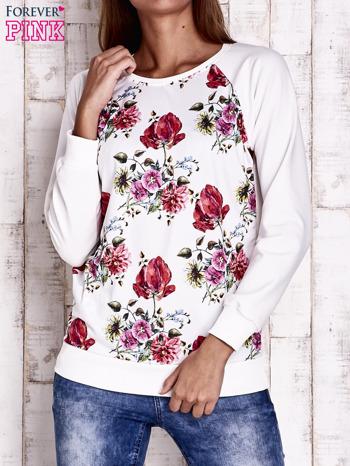 Ecru bluza w kwiaty