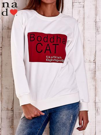 Ecru bluza z napisem BODDHA CAT