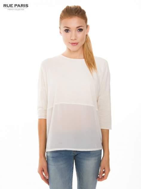 Ecru bluzka oversize z siateczkowym dołem
