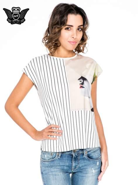 Ecru bluzka w paski z satynową wstawką