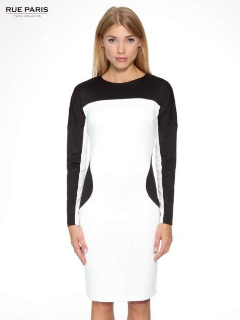 Ecru-czarna sukienka modułowa z zamkiem z tyłu