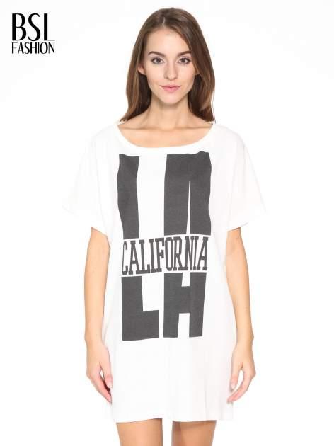 Ecru długi t-shirt z nadrukiem LA CALIFORNIA