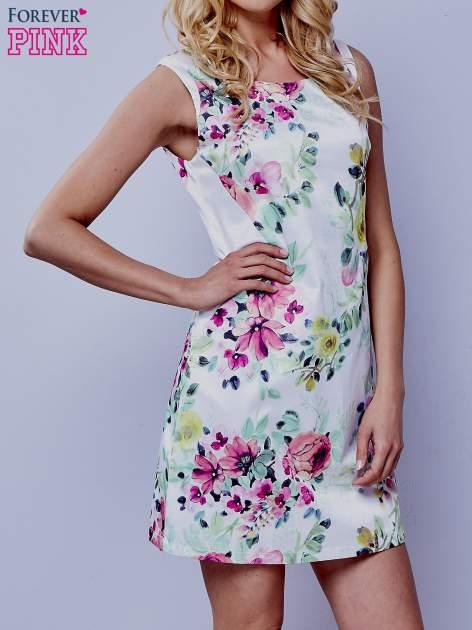 Ecru sukienka w zielone kwiaty