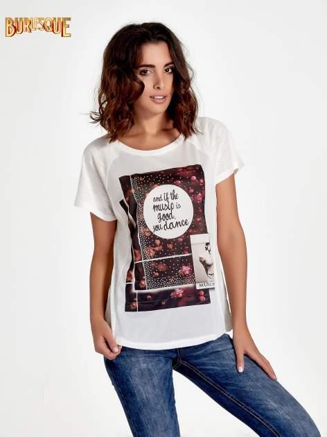 Ecru t-shirt z motywem muzycznym