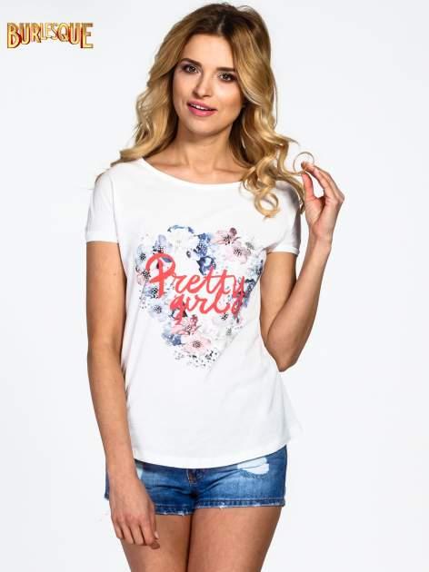 Ecru t-shirt z nadrukiem kwiatowym PRETTY GIRL