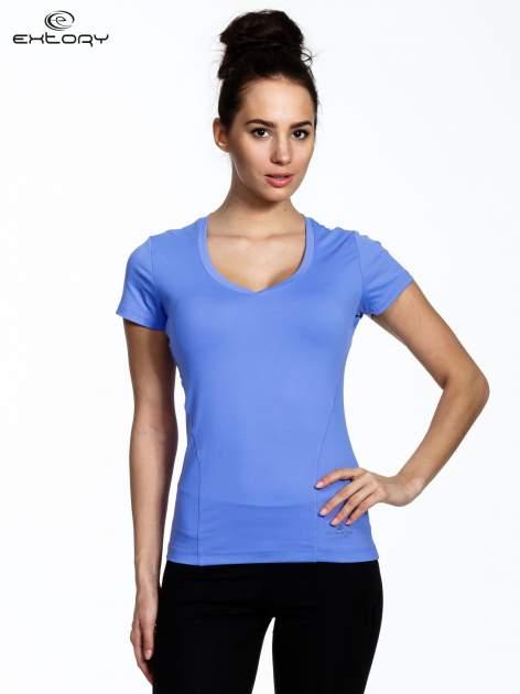 Fioletowy modelujący damski t-shirt sportowy