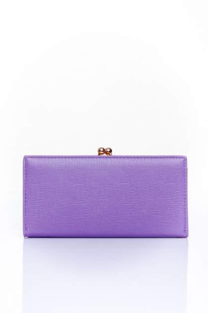 Fioletowy portfel z biglem efekt saffiano