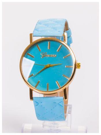 GENEVA Błękitny zegarek damski na pikowanym pasku