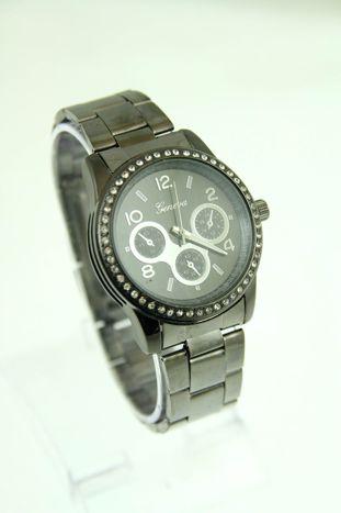 GENEVA Czarny zegarek damski z cyrkoniami na bransolecie