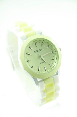 GENEVA Ecru-biały zegarek damski na silikonowym pasku