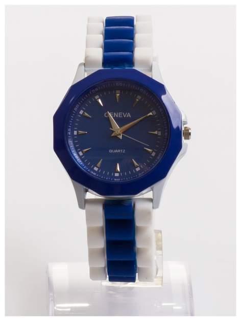 GENEVA Granatowo-biały zegarek damski na wygodnym silikonowym pasku