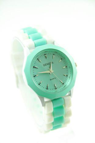 GENEVA Miętowo-biały zegarek damski na silikonowym pasku