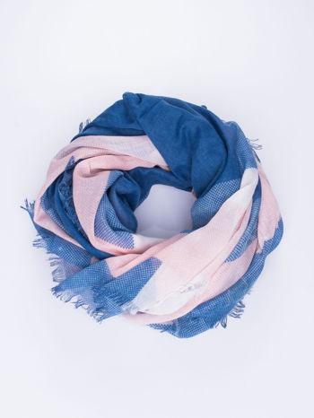 Granatowa bawełniana chusta damska duża w pasy