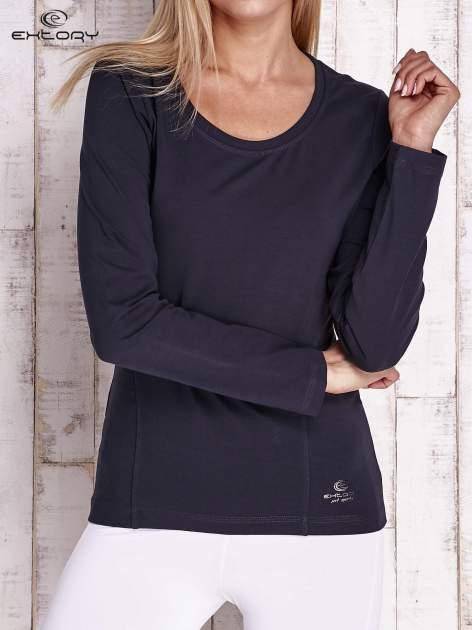 Granatowa bluzka sportowa z dekoltem U