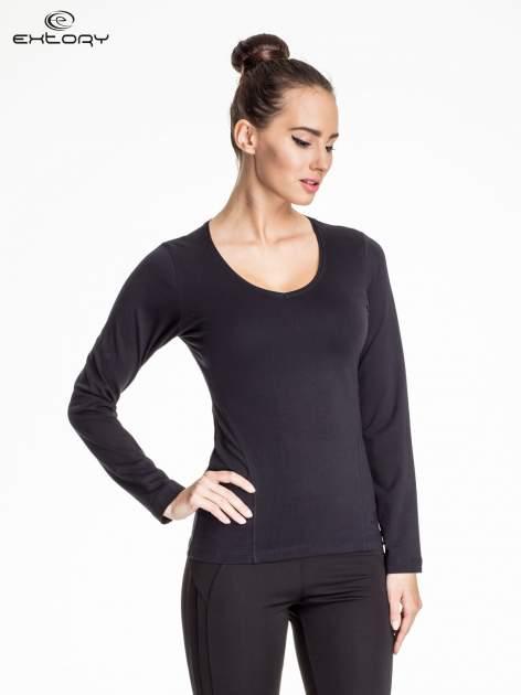 Granatowa bluzka sportowa z dekoltem V