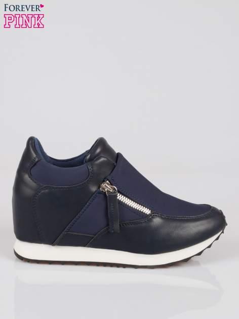 Granatowe sneakersy damskie z suwakiem