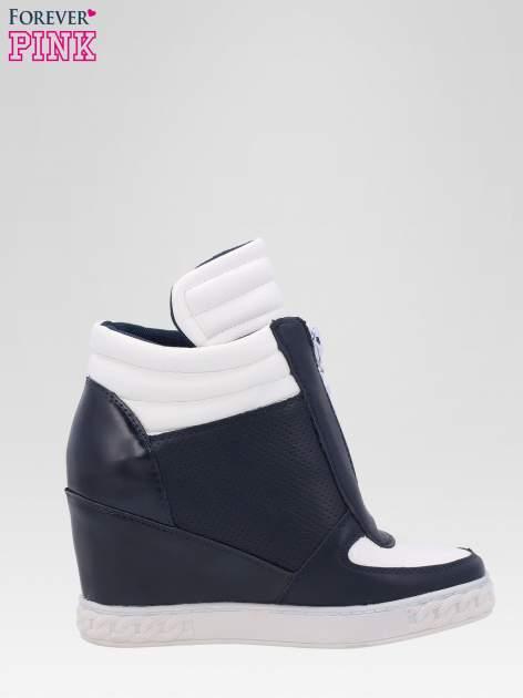 Granatowo-białe sneakersy damskie z suwakiem