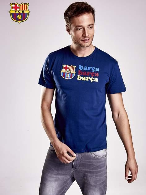 Granatowy t-shirt męski z nadrukiem FC BARCELONA