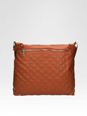 Jasnobrązowa pikowana torebka na ramię