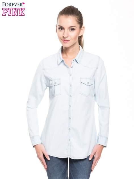 Jasnoniebieska klasyczna koszula jeansowa z długim rękawem