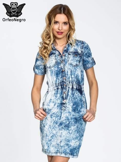 Jeansowa marmurkowa sukienka typu szmizjerka