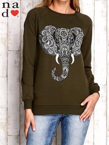Khaki bluza z nadrukiem słonia