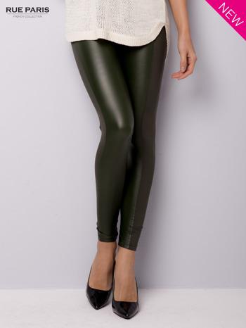 Khaki legginsy z łączonych materiałów