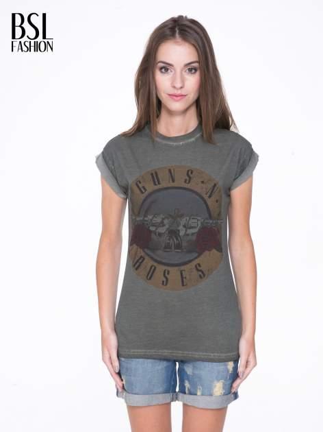 Khaki t-shirt z nadrukiem GUNS N' ROSES