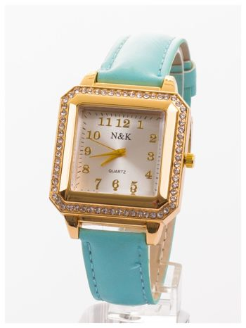 Klasyczny damski zegarek zdobiony cyrkoniami.