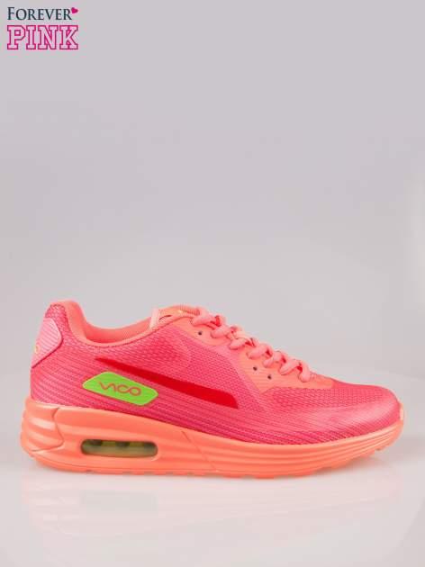 Koralowe miękkie buty sportowe z imitacją siateczki