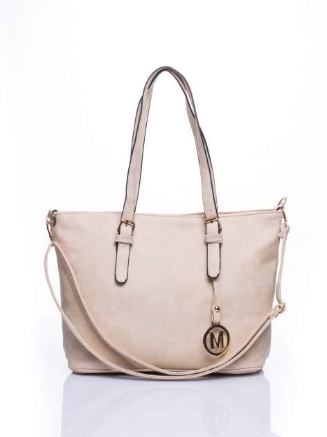 Kremowa torba shopper bag z zawieszką
