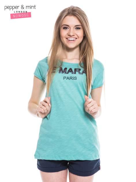 Miętowy t-shirt z nadrukiem LE MARAIS