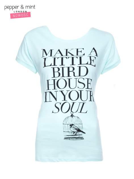 Miętowy t-shirt z nadrukiem ptaszka w klatce