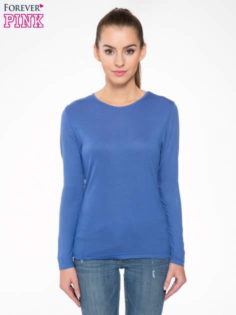 Niebieska bawełniana bluzka typu basic z długim rękawem