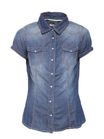 Niebieska koszula jeansowa z krótkim rękawem