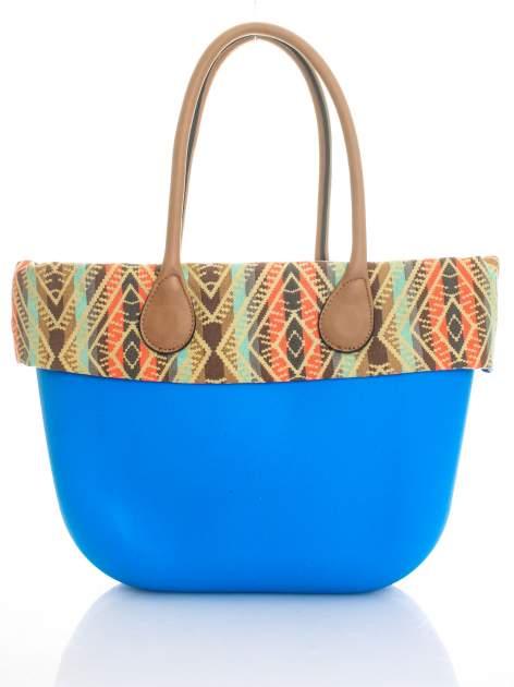 Niebieska torba gumowa z motywem azteckim