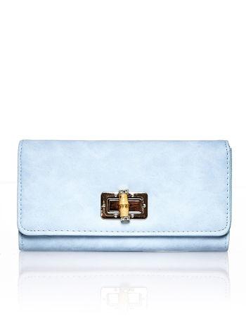 Niebieski fakturowany portfel ze stylizowanym zapięciem