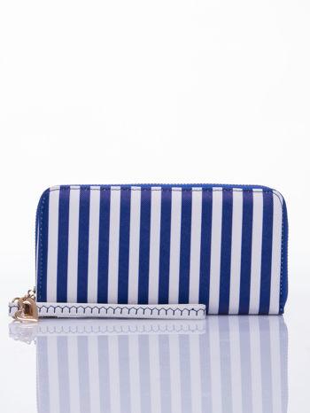 Niebieski portfel w paski z uchwytem