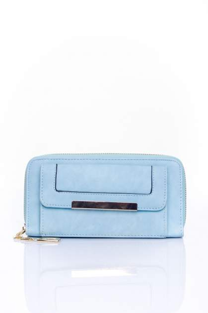 Niebieski portfel z kieszonką ze złotym elementem