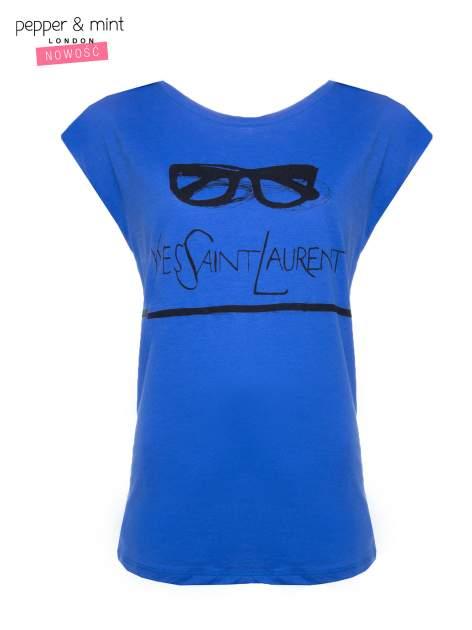 Niebieski t-shirt z nadrukiem YVES SAINT LAURENT