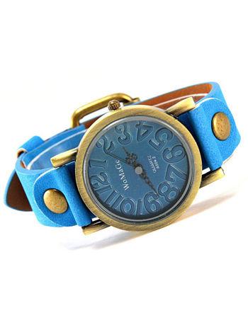 Niebieski zegarek damski na pasku z tarczą z miedzianego złota
