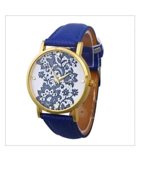 Niebieski zegarek damski na skórzanym pasku z motywem koronki